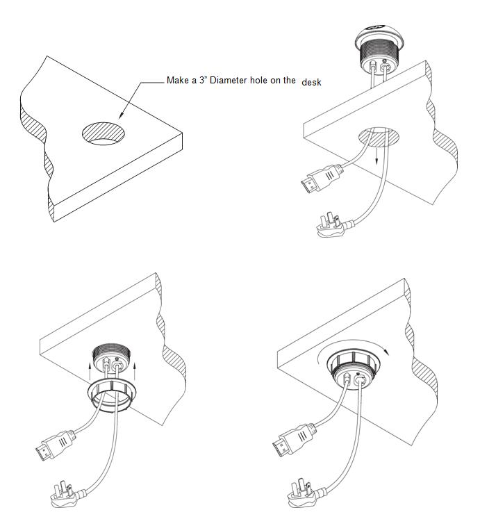 Shanghai Linsky 10a 125v 60hz Round Desk Socket With Dual