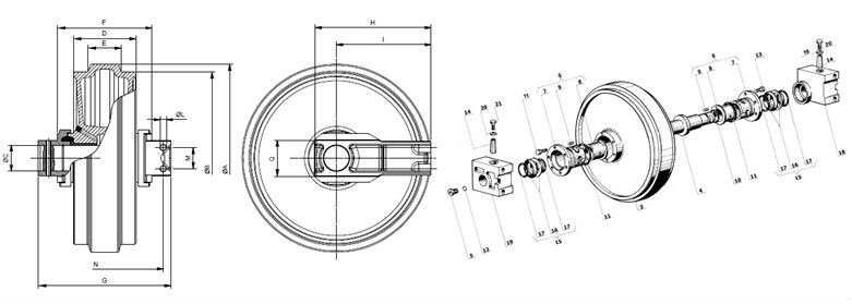 Bulldozer Undercarriage Parts,Front Idler,Track Shoe And
