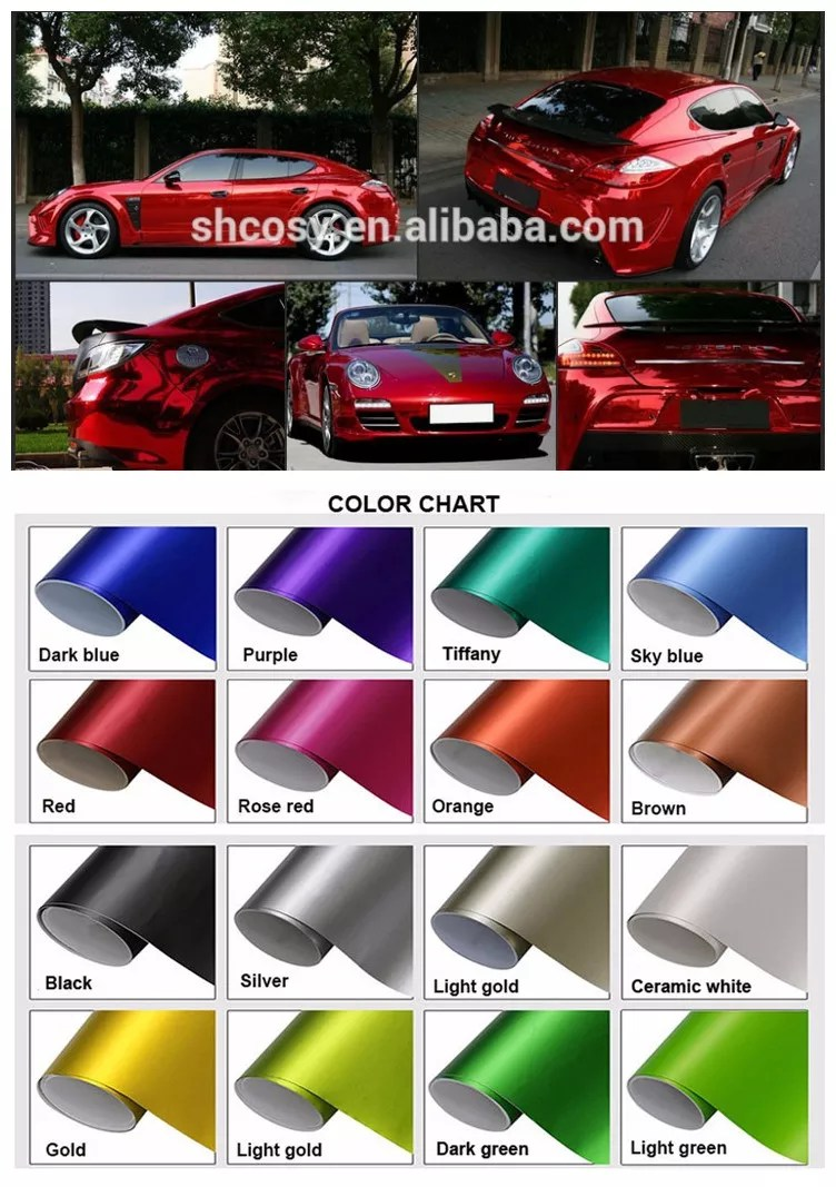 Black Chrome Car Paint : black, chrome, paint, Glossy, Matte, 1.52*30m, Color, Changing, Vinyl, Black, Chrome, Wrap,Red, Wrap,Glossy