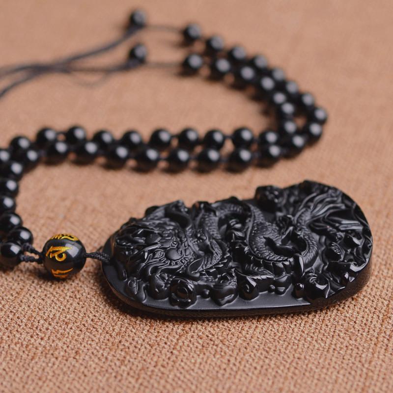 HTB1VpUfgBTH8KJjy0Fiq6ARsXXao QIANXU Drop Shipping Black Obsidian Dragon Necklace Pendant Jade Pendant Jewelry Fine Jewelry