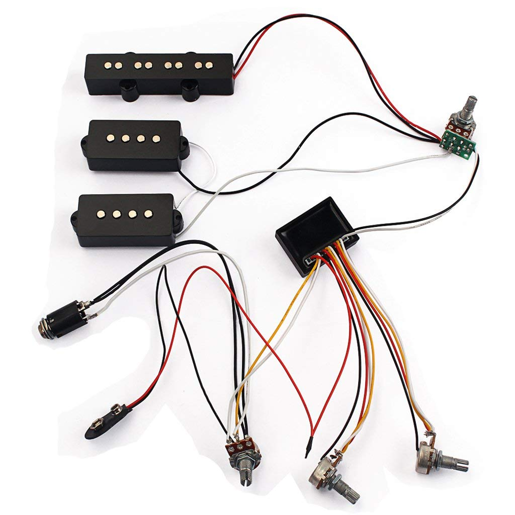 hight resolution of get quotations homyl 1 set 3 band wiring harness amp eq preamp equalizer pickup for jazz bass
