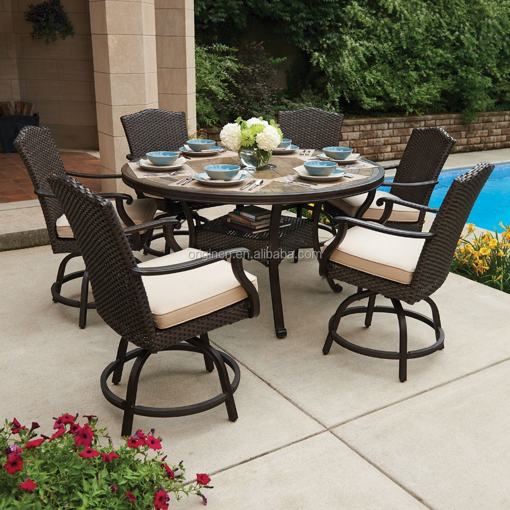 6 Seater Garden Outdoor Round Dining Storage Table And