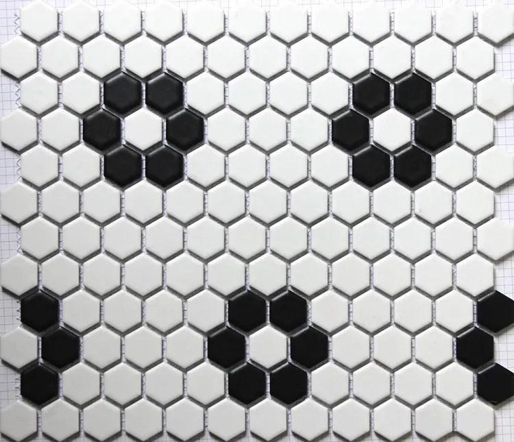 carrelage mural en ceramique hexagonale chine noir et blanc mosaique buy tuile de mur de mosaique hexagone carreau de mosaique en ceramique noir et