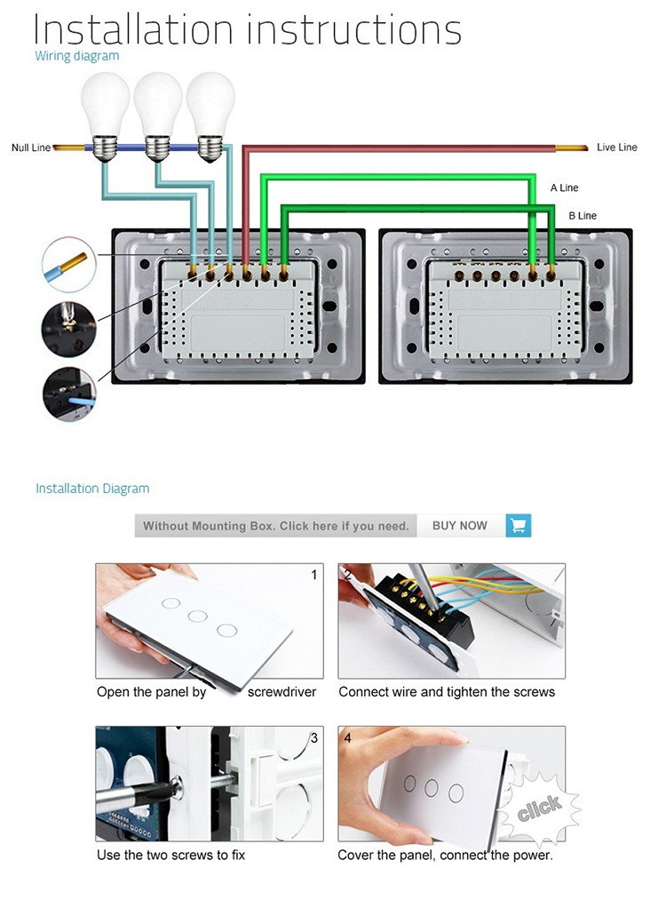 wiring diagram light switch 3 way 85 22re livolo us/au standard black crystal glass panel 3-gang 2-way touch screen control ...