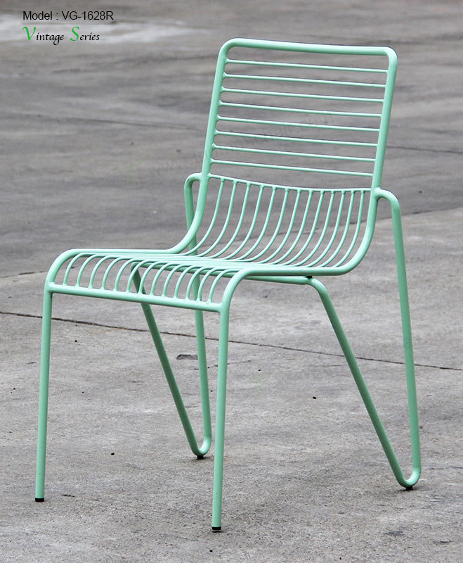 wood and metal dining chairs desk chair light blue triumph outdoor /indoor furniture mesh stackable wire - buy ...