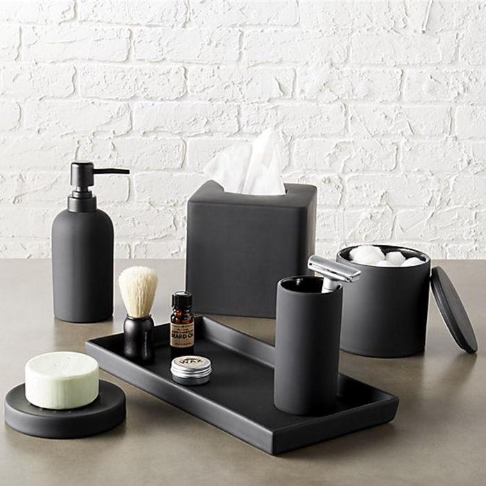 Luxury Matte Black Home Bathroom Decorations Resin