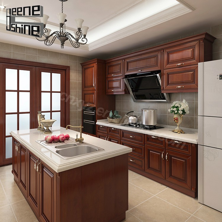 Brown Color Modern Design Modular Solid Wood Kitchen