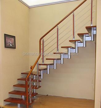 Modern Steel Wood Staircase Indoor Stair Handrails Stair