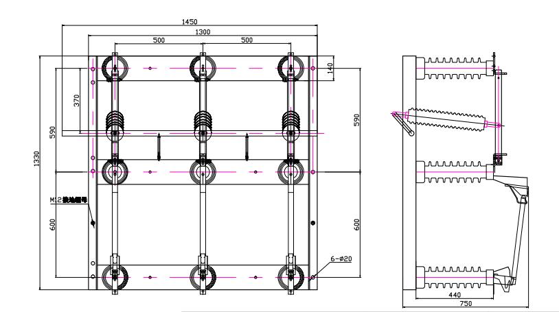12/24/33kv 400/630/1000/1250A 3/three pole outdoor AC high