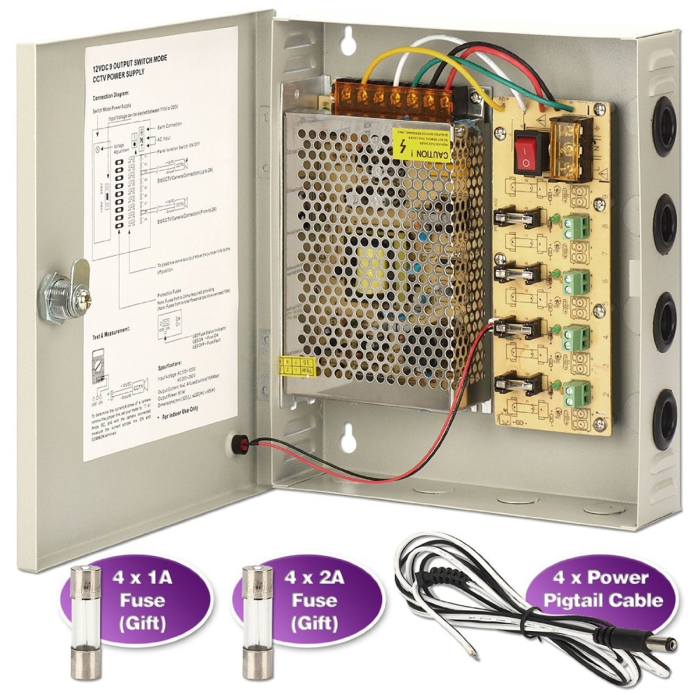 medium resolution of get quotations cctv power supply box zoter 4 port channel 5a distribution fuse ac 110 240v
