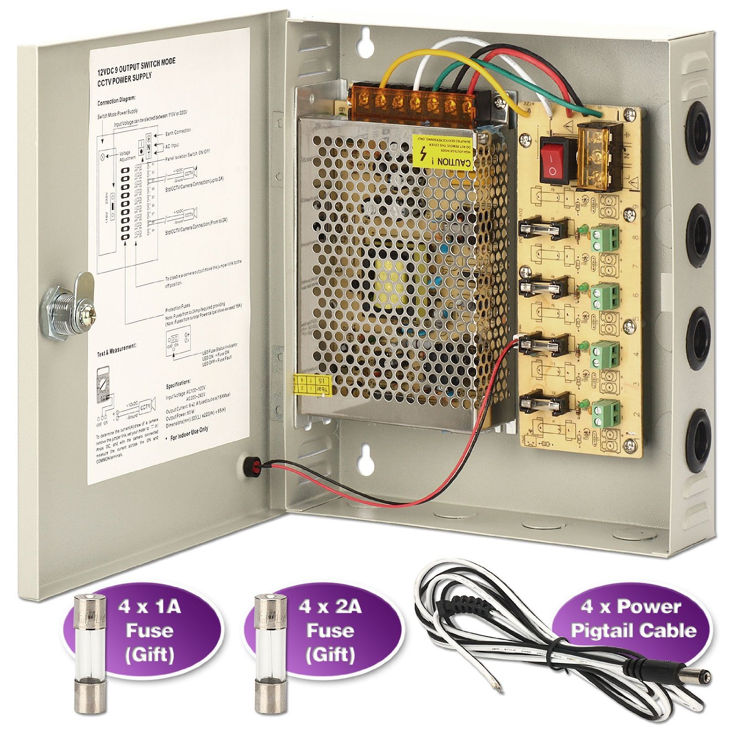 hight resolution of get quotations cctv power supply box zoter 4 port channel 5a distribution fuse ac 110 240v