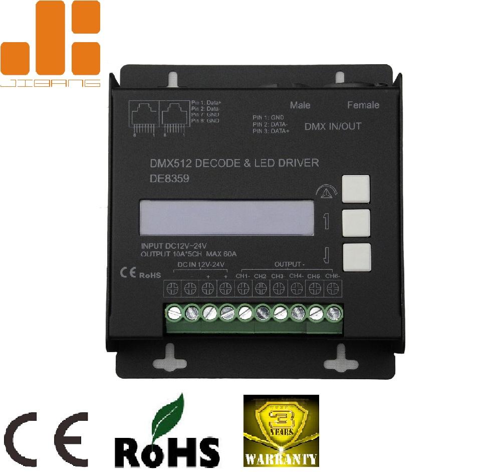hight resolution of max 10ax6ch lcd screen dimmable dmx512 decoder de8359