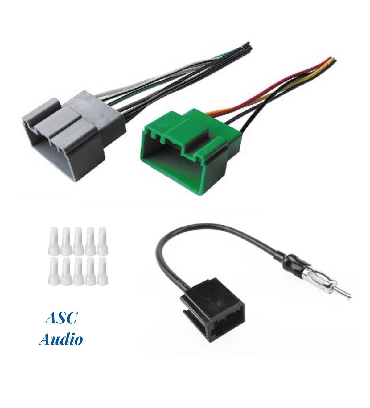 hight resolution of asc audio car stereo radio wire harness and antenna adapter to install an aftermarket radio for