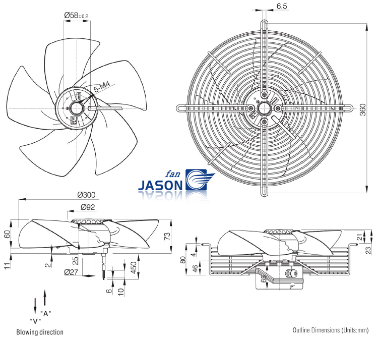 Diameter 300mm Power Transformer Cooling Fan Sickle