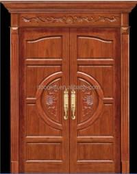 Simple Exterior Teak Wood Double Entry Soundproof Door ...