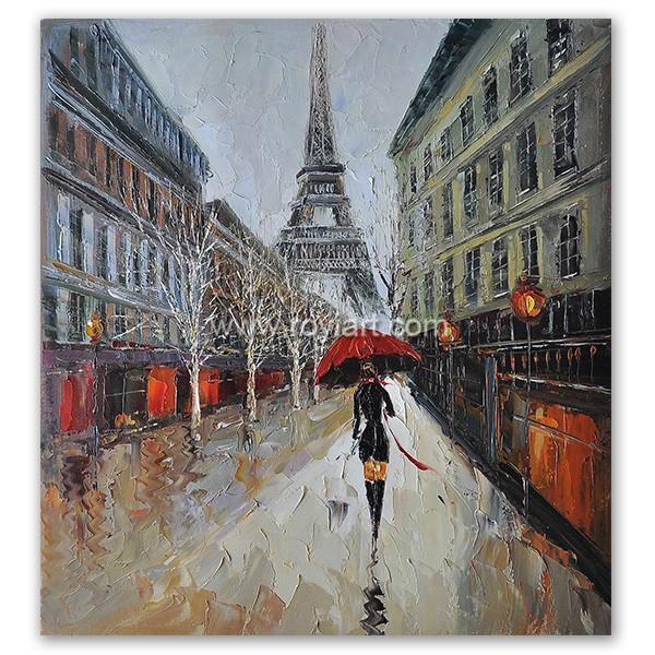 Royi Art Oil Painting Paris Street Scenes For Bedroom