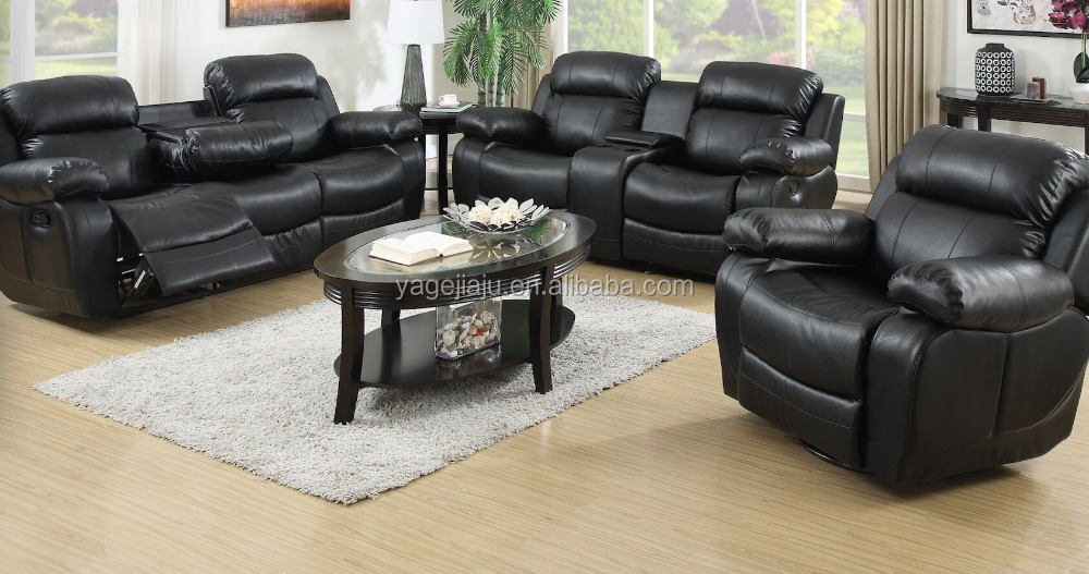 black reclining sofa with console wicker cushions replacement 2015 lazy boy recliner leather motion ciosole ls