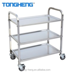 Stainless Steel Kitchen Cart Island Hood Easy Assemble Ss304 Trolley 3 Tier Restaurant Food Service