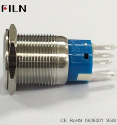 19mm 12v white led stainless steel metal momentary double pole double throw push button switch [ 1000 x 1000 Pixel ]