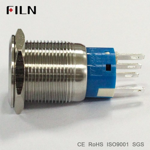 small resolution of 19mm 12v white led stainless steel metal momentary double pole double throw push button switch