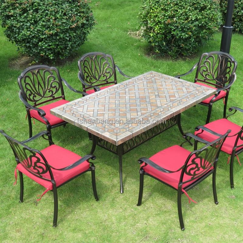 Venta al por mayor mesas de hierro forjado para jardin