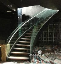 Curved Glass Railing Wood Stairs - Buy Glass Railing Wood ...