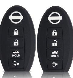 ouyfilters tm 2pcs 4 button black car key silicone cover case for nissan murano 350z 370z gt r murano sentra armada rogue altima maxima versa pathfinder  [ 1000 x 1000 Pixel ]