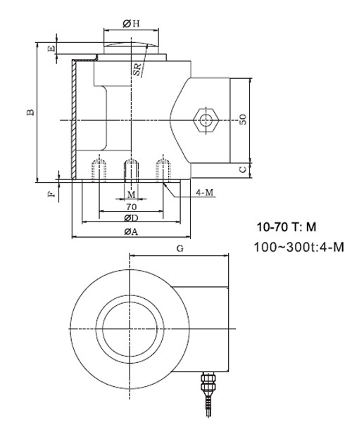 Sc4801 Big Capacity Column Load Cell For Concrete