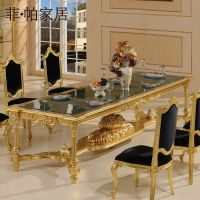 Lujo clsico muebles hogar-hoja de oro barroco tallado a ...