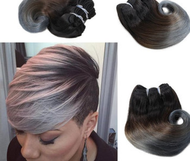 Ombre Grey Blonde Brazilian Body Wave Short Weave Inch Brazilian Human Hair Weft Pc Pack