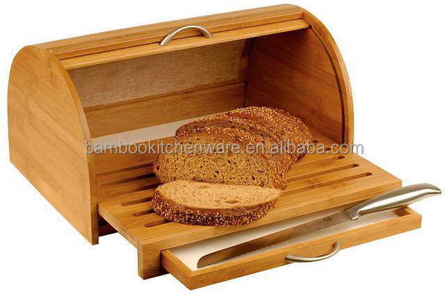 kitchen storage canisters mid level cabinets bamboo wood bread box with cutting board - buy ...