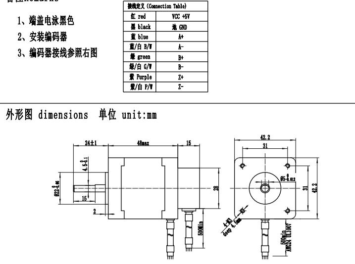 Nema 17 Closed Loop 42mm Stepper Motor 0.5nm Hybrid With