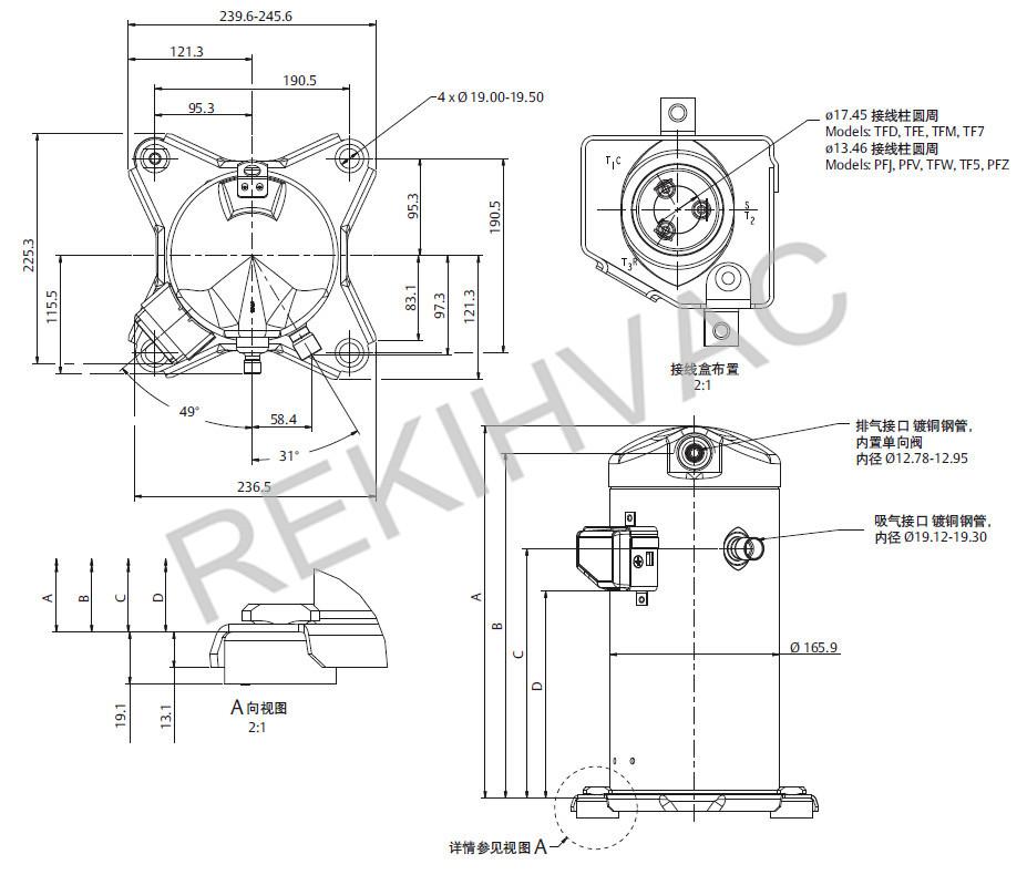 220V 50Hz 2.5HP Compressor Copelametic Models ZB19KQ-PFJ