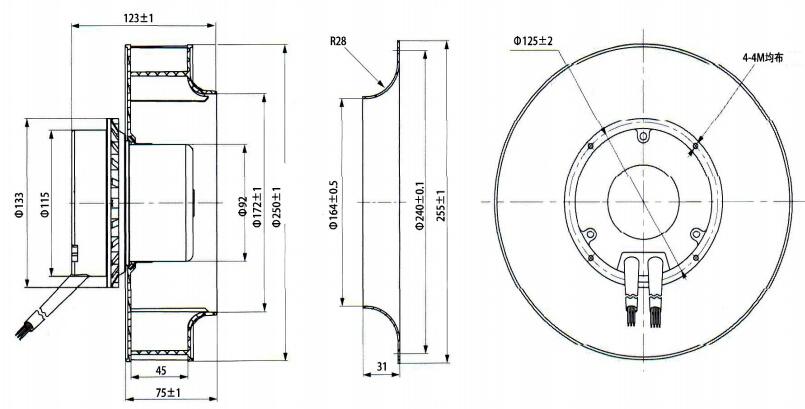 250 Ec Backward Curved Centrifugal Fan Plastic Impeller