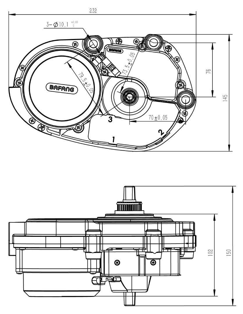36v 250w Bafang Max Drive Mid Crank Motor/8 Fun Mid Drive