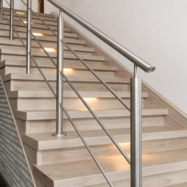 Customized Stainless Steel Interior Metal Railing Kits Stair   Interior Metal Stair Railing   Rustic   Cool   Exterior Irregular Stair   Stair Bannister   Dark Wood