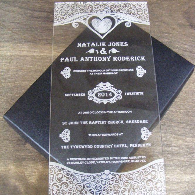 Engraved Acrylic Wedding Invitations