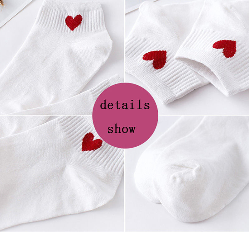 Short Socks Red Heart Cute Soft Cotton Spandex Polyester