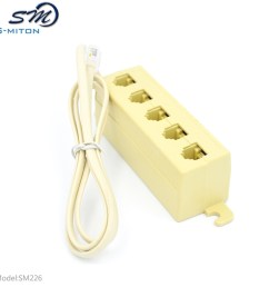 rj11 5 way outlet phone modular jack telephone line adapter splitter connector [ 1000 x 1000 Pixel ]