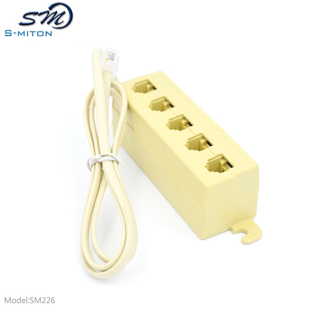 hight resolution of rj11 5 way outlet phone modular jack telephone line adapter splitter connector
