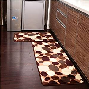 kitchen mat sets pantry cabinet ikea buy ustide 2 piece coffee stone flower rug set soft coral fleece bathroom