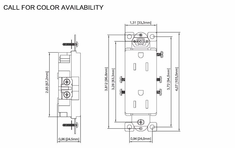15a/125v Industrial Grade Decorator Duplex Receptacle