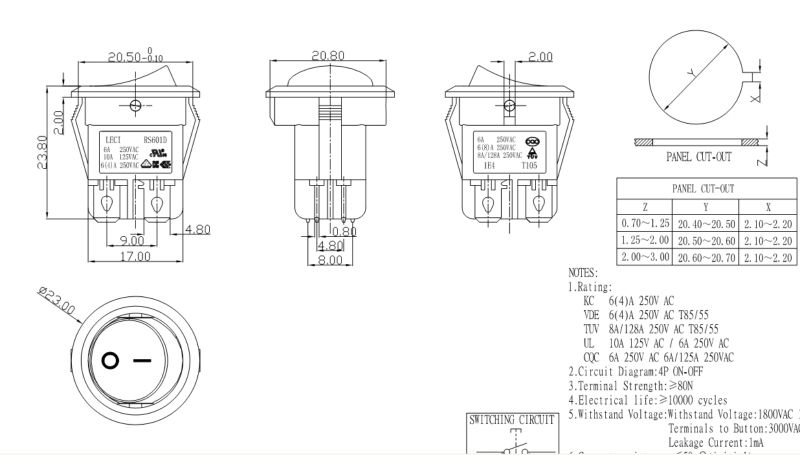 5 Position Rotary Switch Waterproof Electrical 6 Pole