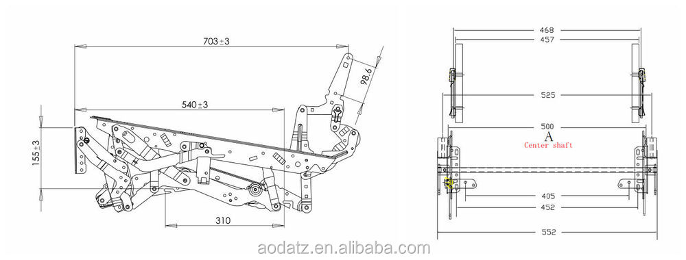 AD396 electric recliner mechanism parts, View electric