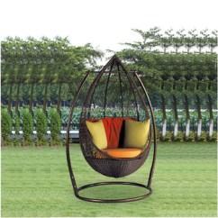 Outdoor Wicker Swing Chair Accent Set Black Color Garden Patio Rattan Egg For Kids Indoor Hfg 039