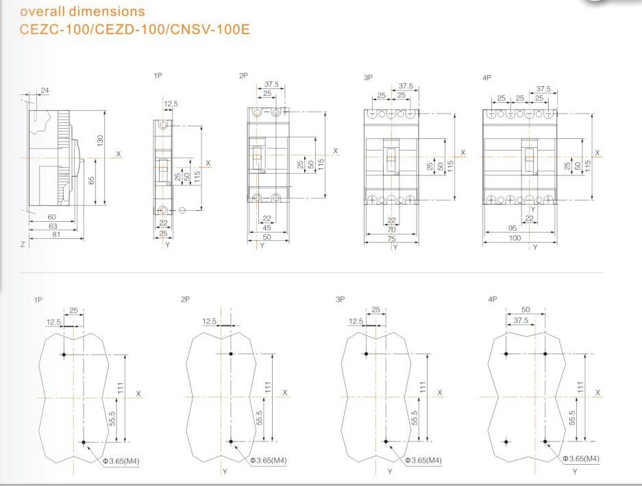 Cezc 100f 100a Dp Low Voltage Circuit Breaker Icu 18ka
