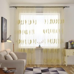 Cheap Kitchen Curtains Best Flooring Yellow Find Deals On Get Quotations Decorative Bsgsh Feather Embroidery Sheer Valances Window Drape Panels