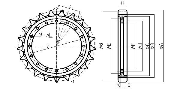 Hitachi Excavator Parts Chainsaw Wheels Rim Sprocket Ex30
