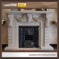 Beige Mantel Surround Marble Fireplace