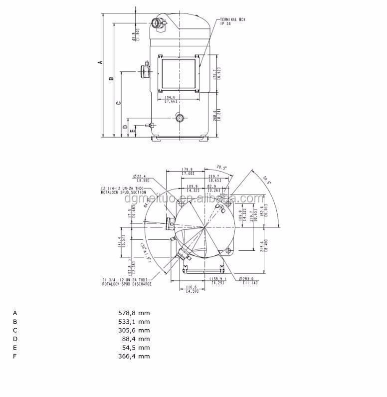 Low Temperature 15hp Scroll Copeland Compressor Zf48k4e